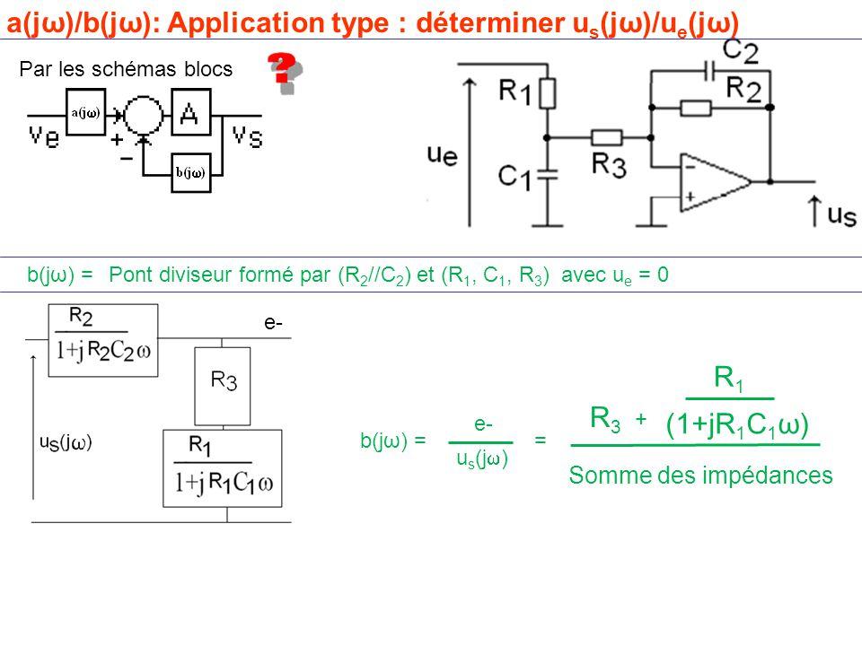 Par les schémas blocs b(jω) =Pont diviseur formé par (R 2 //C 2 ) et (R 1, C 1, R 3 ) avec u e = 0 e- a(jω)/b(jω): Application type : déterminer u s (jω)/u e (jω) e- Somme des impédances (1+jR 1 C 1 ω) = R3R3 + R1R1 b(jω) = u s (j  )