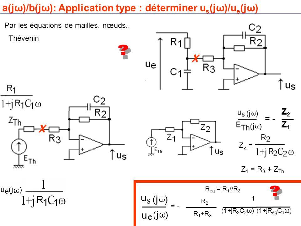 a(jω)/b(jω): Application type : déterminer u s (jω)/u e (jω) Par les équations de mailles, nœuds..