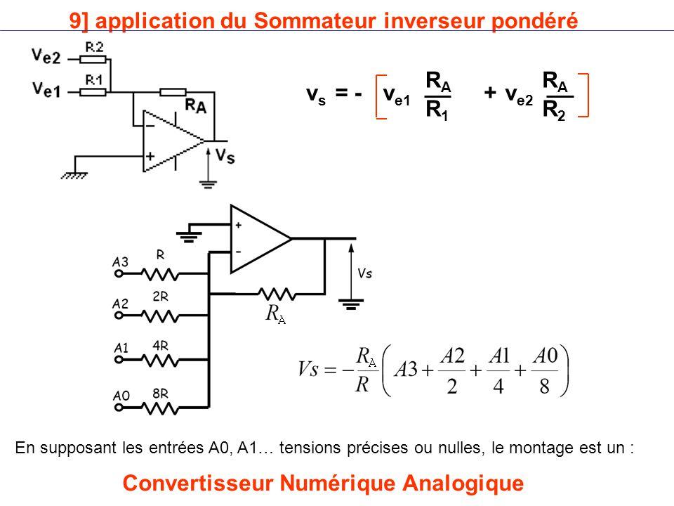 9] application du Sommateur inverseur pondéré vsvs = -v e1 v e2 RARA R1R1 RARA R2R2 + En supposant les entrées A0, A1… tensions précises ou nulles, le montage est un : Convertisseur Numérique Analogique