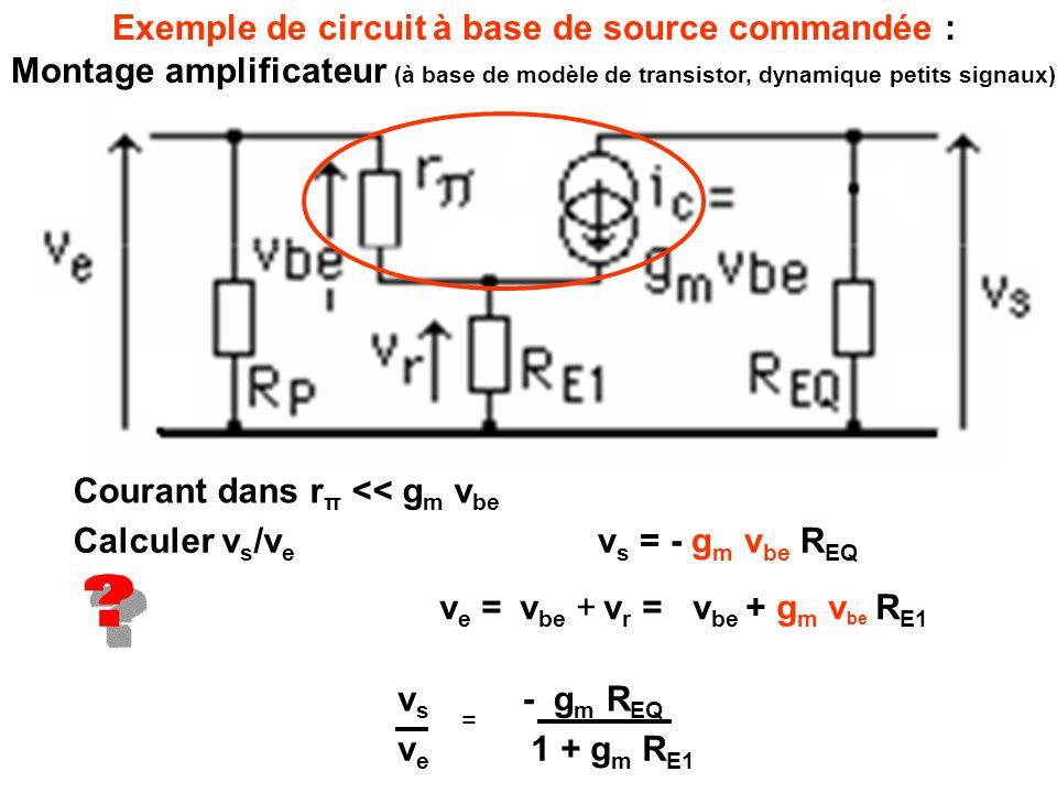 6] Sommateur (et amplificateur) e- = v s e+ = v e1 e+ = e- vsvs =v e1 v e2 R2R2 R 1 +R 2 R1R1 + R A +R B RBRB « Moyenneur pondéré » à 3 entrées : Une entrée non connectée (flottante), modifie les coefficients R A +R B RBRB R2R2 R 1 +R 2 R1R1 + v e2 vsvs = v e1 R2R2 D = R 1 R 2 + R 2 R 3 + R 1 R 3 + R A +R B RBRB R3R3 D v e2 R1R1 R3R3 D v e3 R1R1 R2R2 D + Généralisable à n entrées, mais expression de plus en plus complexe