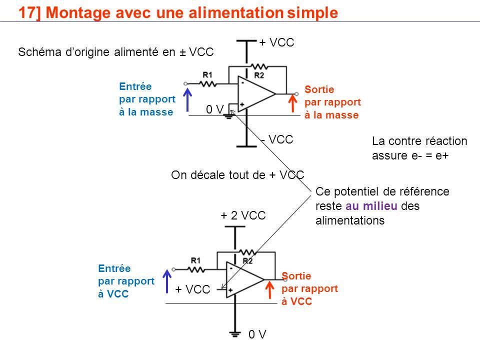 17] Montage avec une alimentation simple + VCC - VCC 0 V + 2 VCC 0 V + VCC Entrée par rapport à la masse Sortie par rapport à la masse Entrée par rapport à VCC Sortie par rapport à VCC On décale tout de + VCC Ce potentiel de référence reste au milieu des alimentations Schéma d'origine alimenté en ± VCC La contre réaction assure e- = e+