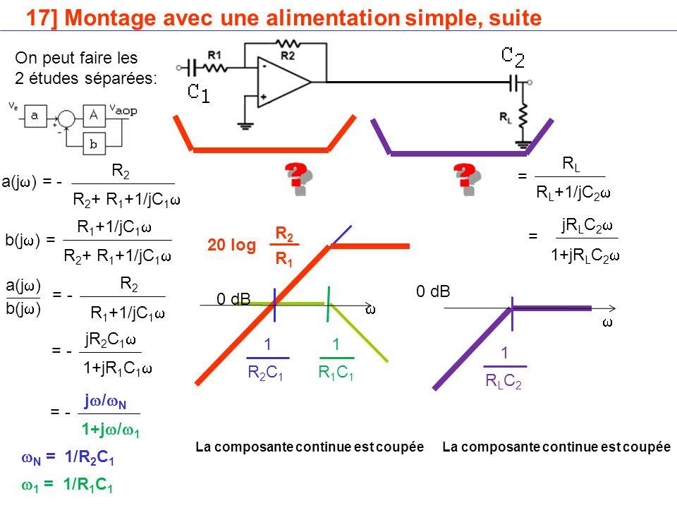 17] Montage avec une alimentation simple, suite R 1 +1/jC 1  b(j  ) = R 2 + R 1 +1/jC 1  R2R2 a(j  ) = - R 2 + R 1 +1/jC 1  R 1 +1/jC 1  b(j  ) R2R2 a(j  ) = - 1+jR 1 C 1  jR 2 C 1  = - On peut faire les 2 études séparées: 1+j  /  1 j/Nj/N = -  N =  1 = 1/R 2 C 1 1/R 1 C 1 R1C1R1C1 1 0 dB R2C1R2C1 1 RLRL R L +1/jC 2  = 1+jR L C 2  jR L C 2  =   RLC2RLC2 1 0 dB R2R2 R1R1 20 log La composante continue est coupée