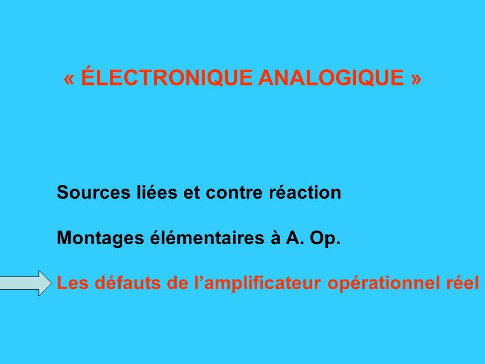 Sources liées et contre réaction Montages élémentaires à A.