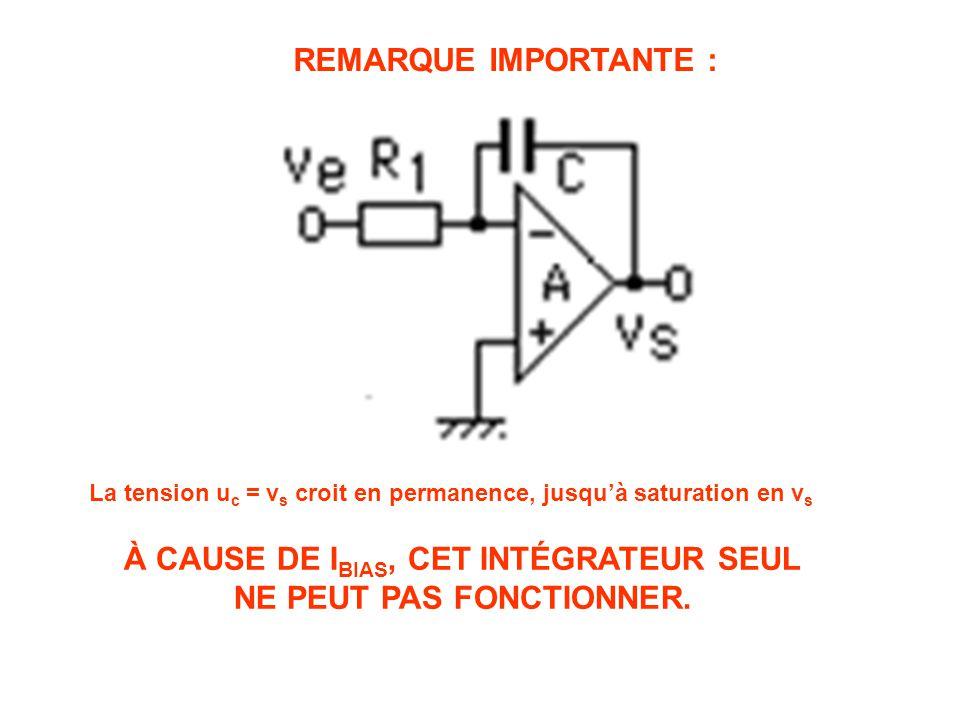 La tension u c = v s croit en permanence, jusqu'à saturation en v s REMARQUE IMPORTANTE : À CAUSE DE I BIAS, CET INTÉGRATEUR SEUL NE PEUT PAS FONCTIONNER.