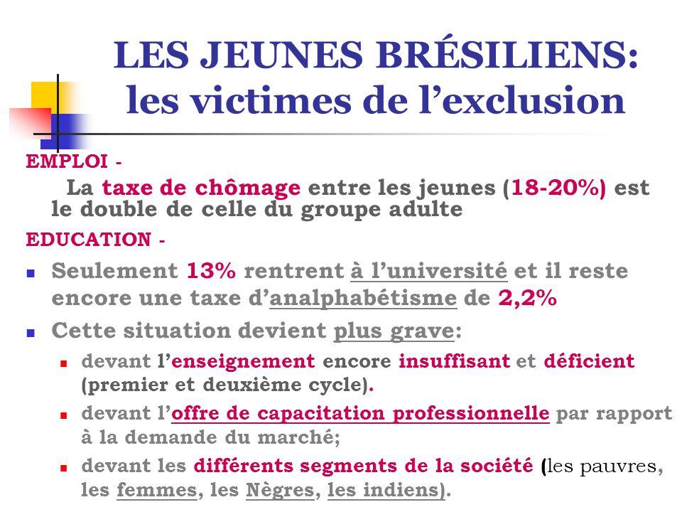 LES JEUNES BRÉSILIENS: les victimes de l'exclusion EMPLOI - La taxe de chômage entre les jeunes (18-20%) est le double de celle du groupe adulte EDUCA