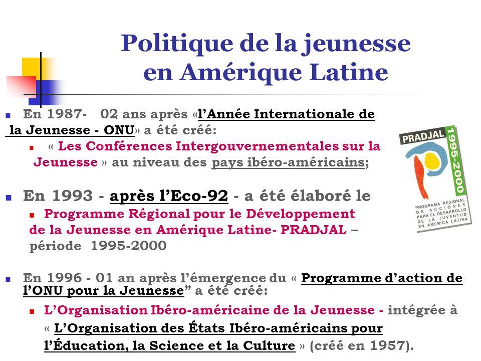 Politique de la jeunesse en Amérique Latine En 1987- 02 ans après «l'Année Internationale de la Jeunesse - ONU» a été créé: « Les Conférences Intergouvernementales sur la Jeunesse » au niveau des pays ibéro-américains; En 1993 - après l'Eco-92 - a été élaboré le Programme Régional pour le Développement de la Jeunesse en Amérique Latine- PRADJAL – période 1995-2000 En 1996 - 01 an après l'émergence du « Programme d'action de l'ONU pour la Jeunesse a été créé: L'Organisation Ibéro-américaine de la Jeunesse - intégrée à « L'Organisation des États Ibéro-américains pour l'Éducation, la Science et la Culture » (créé en 1957).
