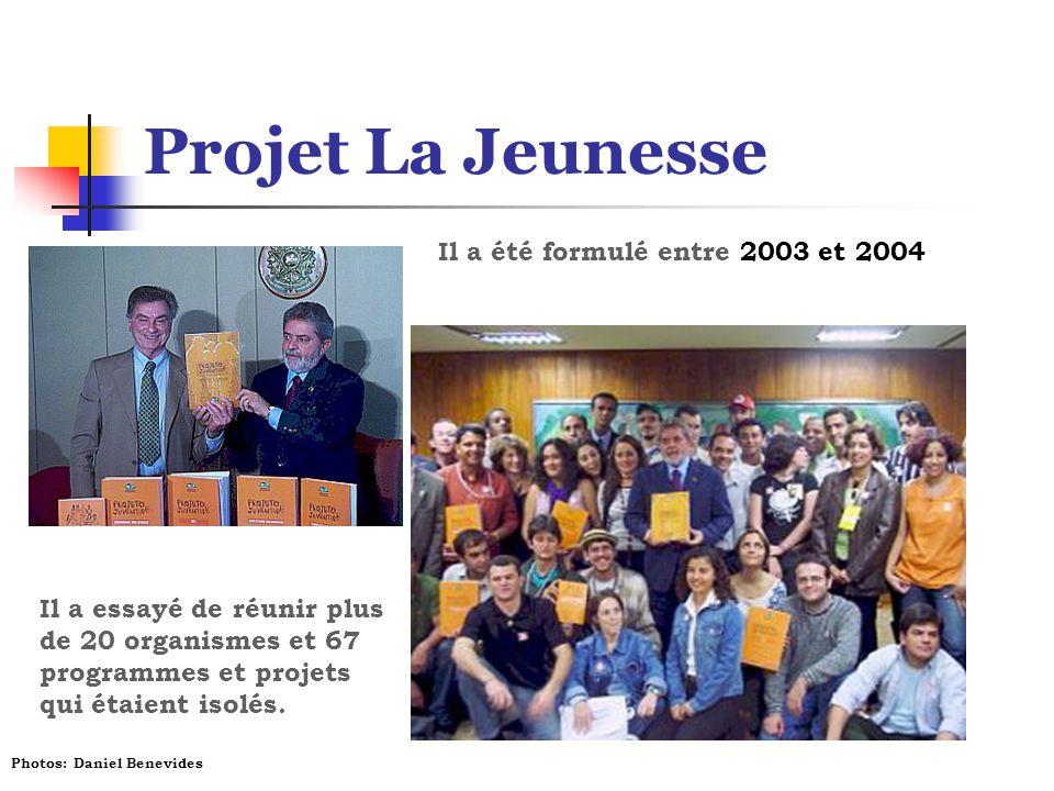 Projet La Jeunesse Il a été formulé entre 2003 et 2004 Il a essayé de réunir plus de 20 organismes et 67 programmes et projets qui étaient isolés. Pho