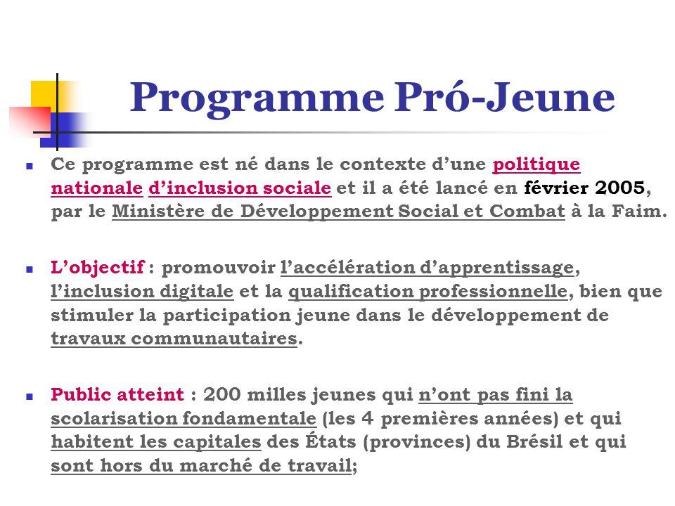 Programme Pró-Jeune Ce programme est né dans le contexte d'une politique nationale d'inclusion sociale et il a été lancé en février 2005, par le Ministère de Développement Social et Combat à la Faim.