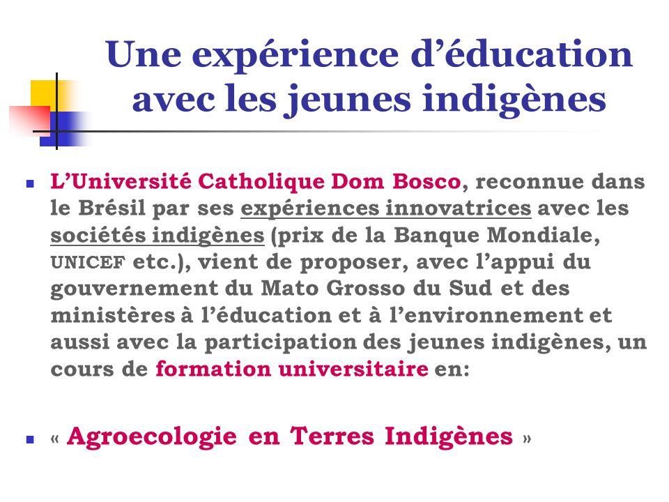 Une expérience d'éducation avec les jeunes indigènes L'Université Catholique Dom Bosco, reconnue dans le Brésil par ses expériences innovatrices avec les sociétés indigènes (prix de la Banque Mondiale, UNICEF etc.), vient de proposer, avec l'appui du gouvernement du Mato Grosso du Sud et des ministères à l'éducation et à l'environnement et aussi avec la participation des jeunes indigènes, un cours de formation universitaire en: « Agroecologie en Terres Indigènes »