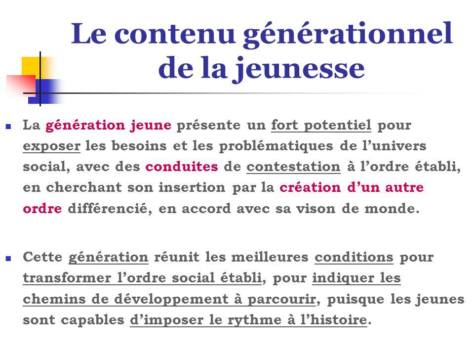 Le contenu générationnel de la jeunesse La génération jeune présente un fort potentiel pour exposer les besoins et les problématiques de l'univers soc