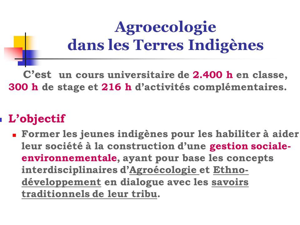 Agroecologie dans les Terres Indigènes C'est un cours universitaire de 2.400 h en classe, 300 h de stage et 216 h d'activités complémentaires.