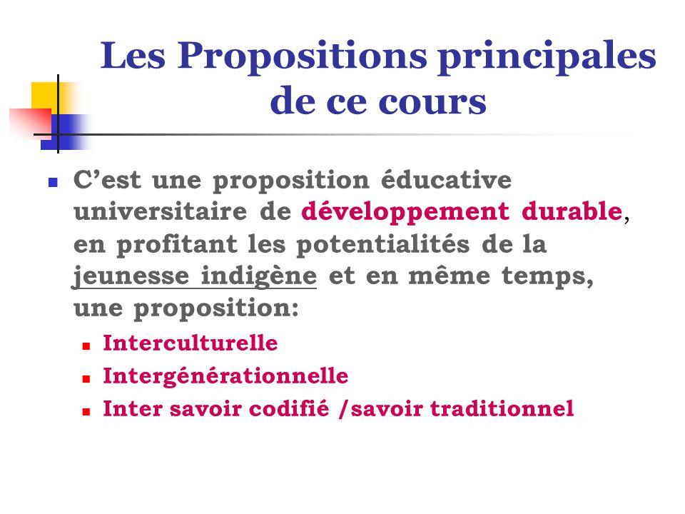 Les Propositions principales de ce cours C'est une proposition éducative universitaire de développement durable, en profitant les potentialités de la jeunesse indigène et en même temps, une proposition: Interculturelle Intergénérationnelle Inter savoir codifié /savoir traditionnel