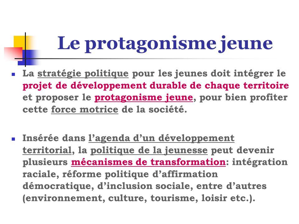Le protagonisme jeune La stratégie politique pour les jeunes doit intégrer le projet de développement durable de chaque territoire et proposer le protagonisme jeune, pour bien profiter cette force motrice de la société.