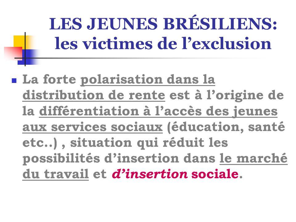 LES JEUNES BRÉSILIENS: les victimes de l'exclusion La forte polarisation dans la distribution de rente est à l'origine de la différentiation à l'accès