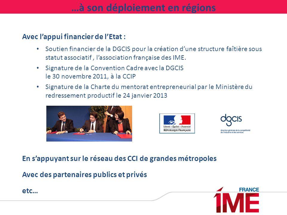 …à son déploiement en régions Avec l'appui financier de l'Etat : Soutien financier de la DGCIS pour la création d'une structure faîtière sous statut a