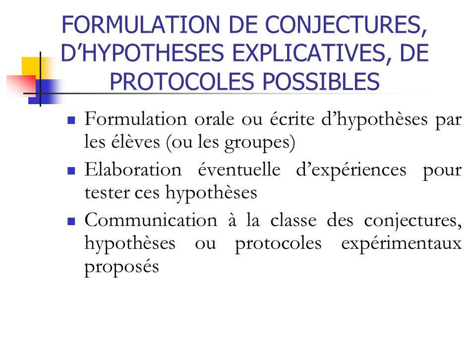 FORMULATION DE CONJECTURES, D'HYPOTHESES EXPLICATIVES, DE PROTOCOLES POSSIBLES Formulation orale ou écrite d'hypothèses par les élèves (ou les groupes
