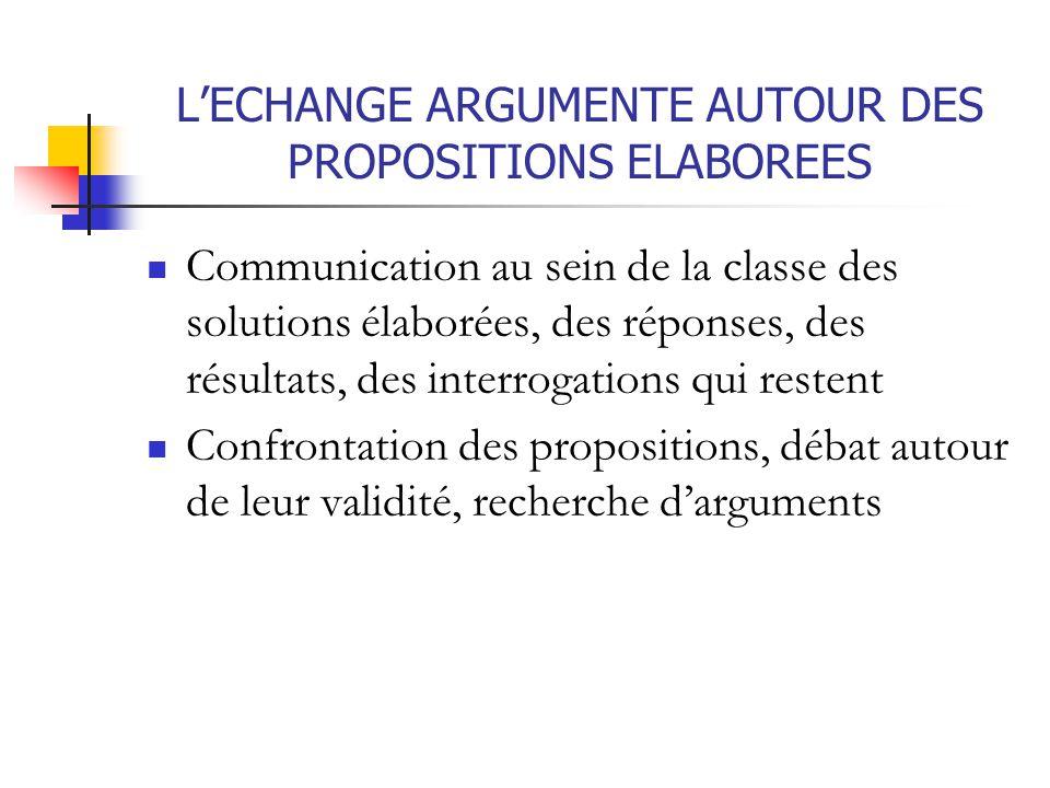 L'ECHANGE ARGUMENTE AUTOUR DES PROPOSITIONS ELABOREES Communication au sein de la classe des solutions élaborées, des réponses, des résultats, des int