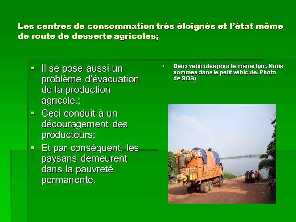 Les centres de consommation très éloignés et l'état même de route de desserte agricoles;  Il se pose aussi un problème d'évacuation de la production