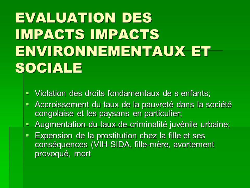 EVALUATION DES IMPACTS IMPACTS ENVIRONNEMENTAUX ET SOCIALE  Violation des droits fondamentaux de s enfants;  Accroissement du taux de la pauvreté da