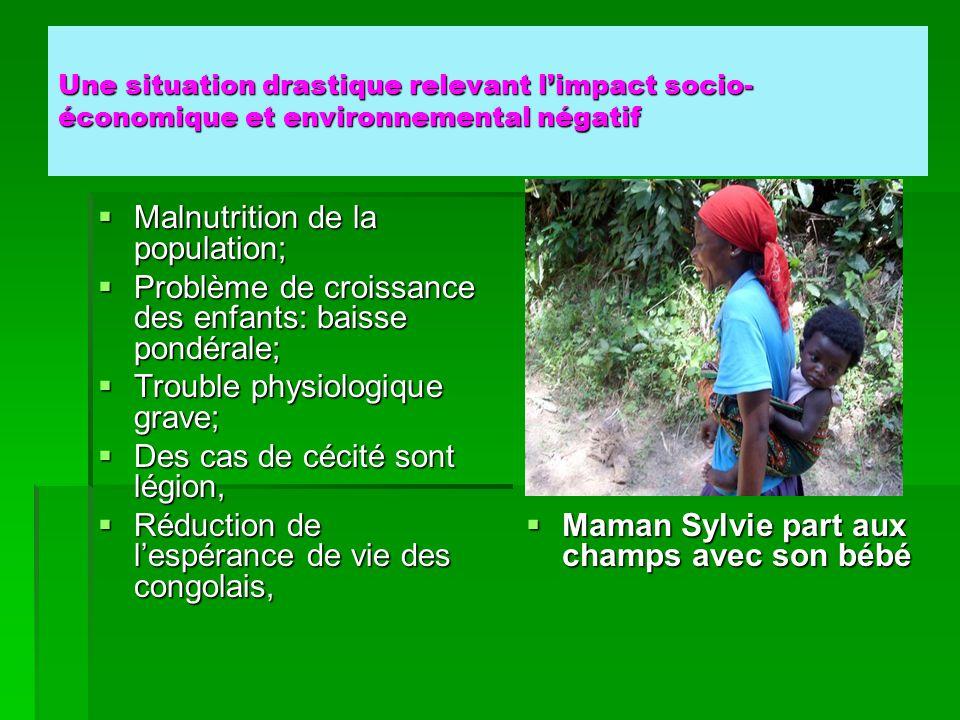 Une situation drastique relevant l'impact socio- économique et environnemental négatif  Malnutrition de la population;  Problème de croissance des e