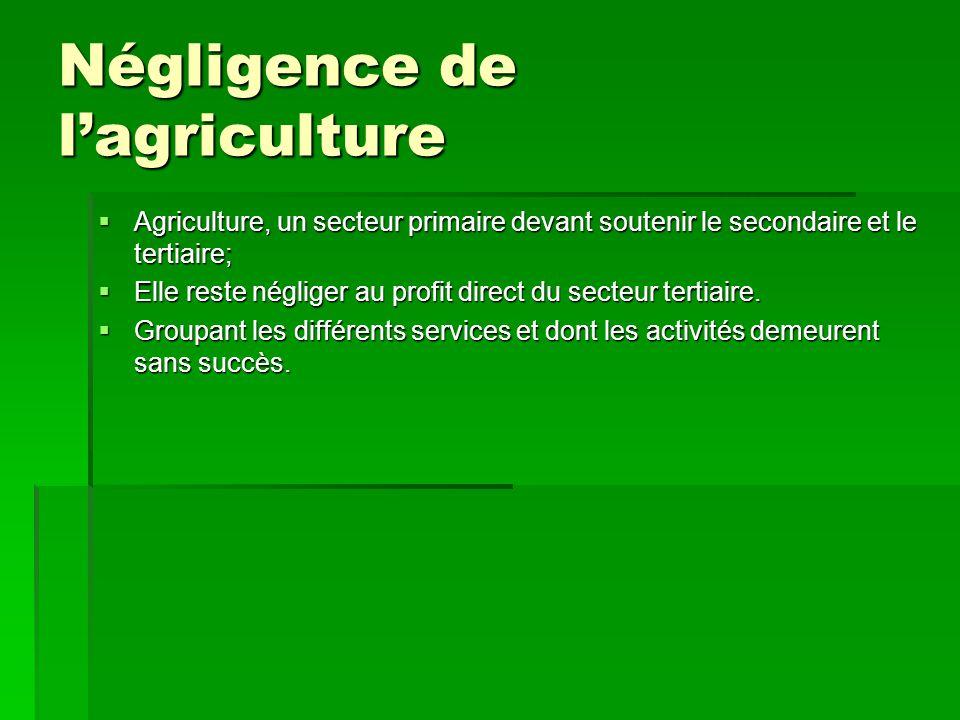 Négligence de l'agriculture  Agriculture, un secteur primaire devant soutenir le secondaire et le tertiaire;  Elle reste négliger au profit direct d