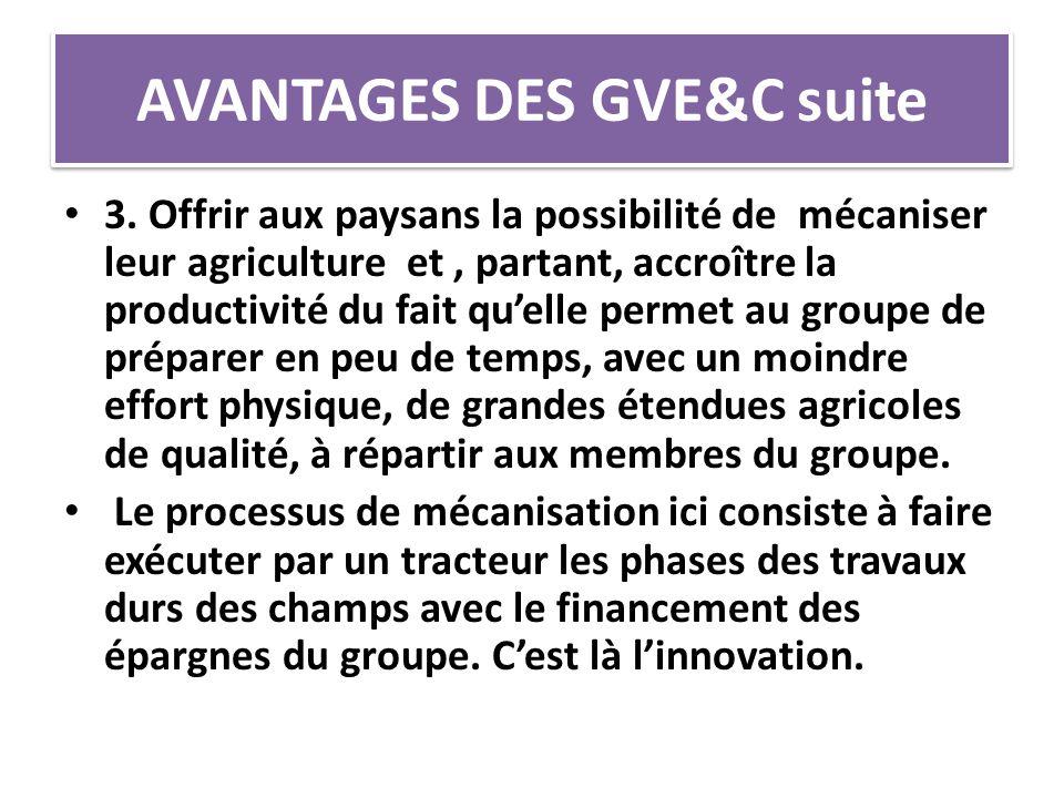 AVANTAGES DES GVE&C suite 3. Offrir aux paysans la possibilité de mécaniser leur agriculture et, partant, accroître la productivité du fait qu'elle pe