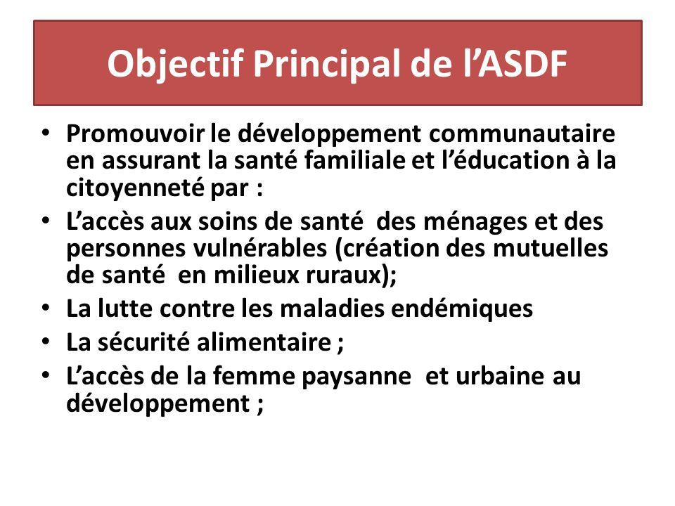 Objectif Principal de l'ASDF Promouvoir le développement communautaire en assurant la santé familiale et l'éducation à la citoyenneté par : L'accès au