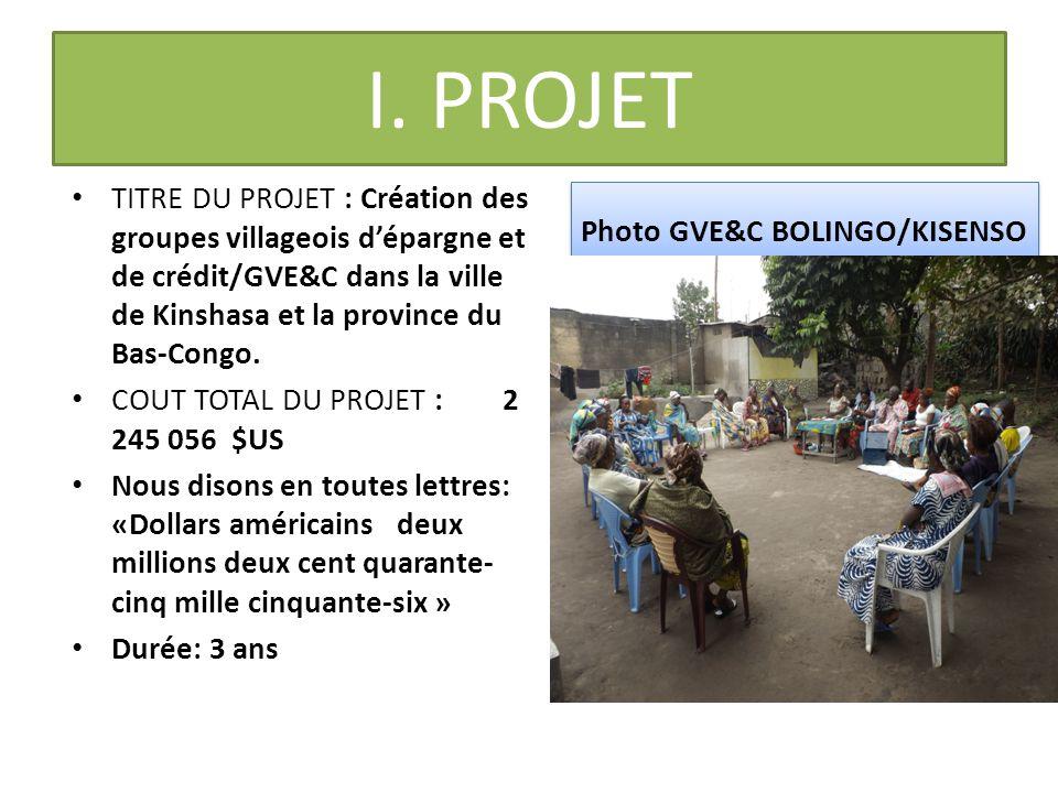 I. PROJET TITRE DU PROJET : Création des groupes villageois d'épargne et de crédit/GVE&C dans la ville de Kinshasa et la province du Bas-Congo. COUT T