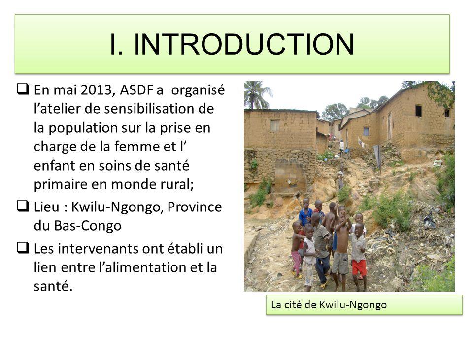I. INTRODUCTION  En mai 2013, ASDF a organisé l'atelier de sensibilisation de la population sur la prise en charge de la femme et l' enfant en soins
