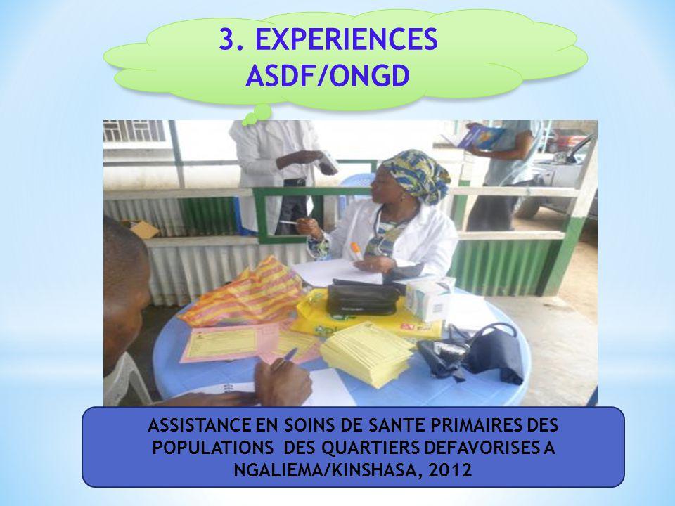 ASDF/ONGS est une ASBL dont l'objet social est: la promotion du développement communautaire en assurant la santé familiale.