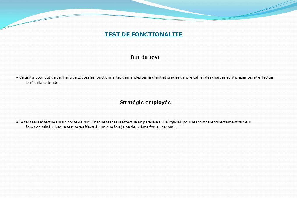 TEST DE FONCTIONALITE But du test ♦ Ce test a pour but de vérifier que toutes les fonctionnalités demandés par le client et précisé dans le cahier des