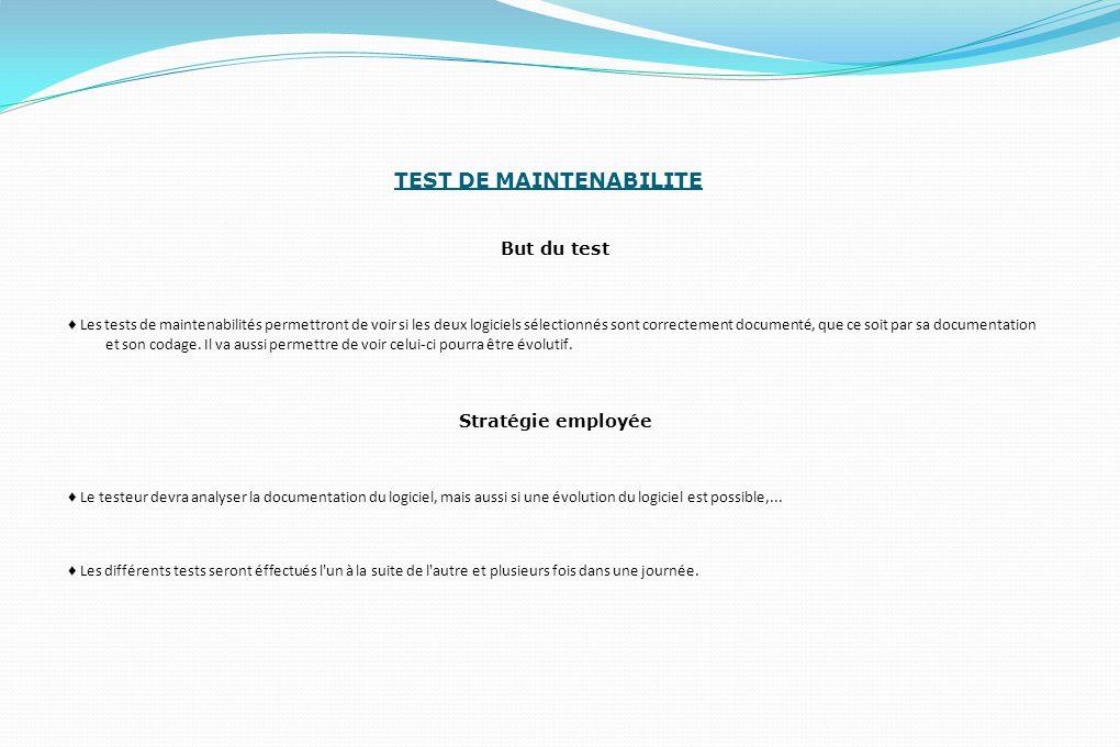 TEST DE MAINTENABILITE But du test ♦ Les tests de maintenabilités permettront de voir si les deux logiciels sélectionnés sont correctement documenté, que ce soit par sa documentation et son codage.