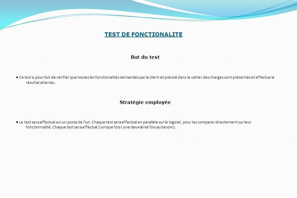 TEST DE FONCTIONALITE But du test ♦ Ce test a pour but de vérifier que toutes les fonctionalités demandés par le client et précisé dans le cahier des charges sont présentes et effectue le résultat attendu.