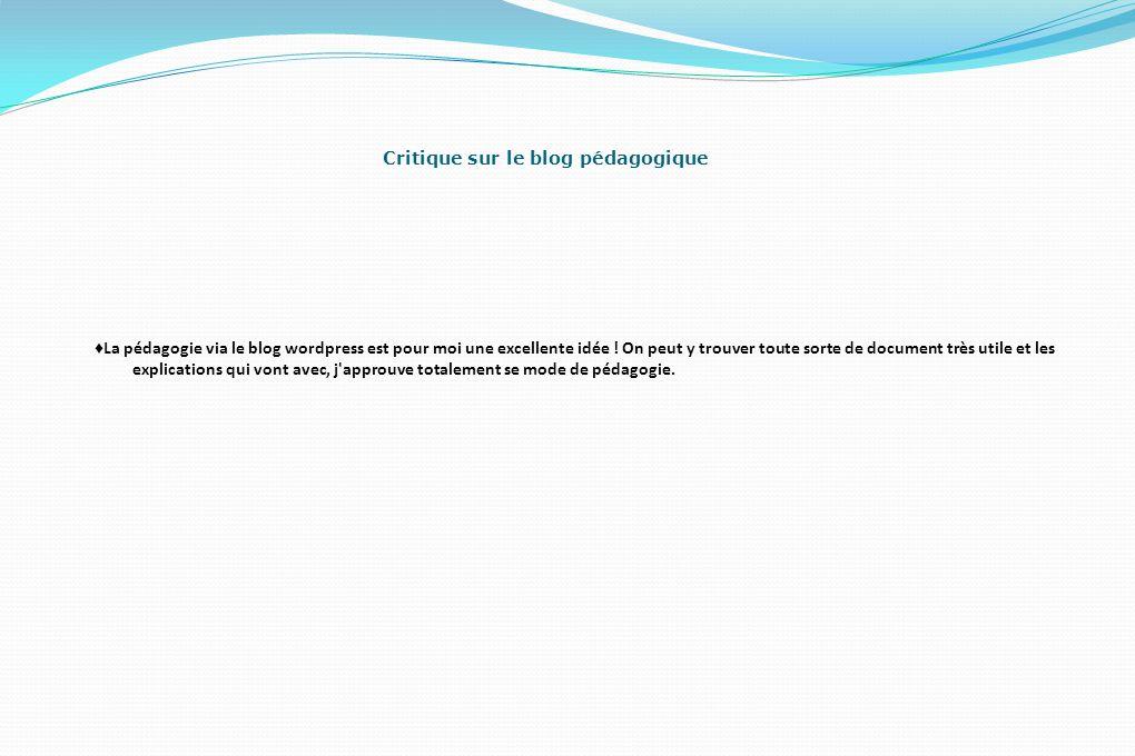 Critique sur le blog pédagogique ♦ La pédagogie via le blog wordpress est pour moi une excellente idée .