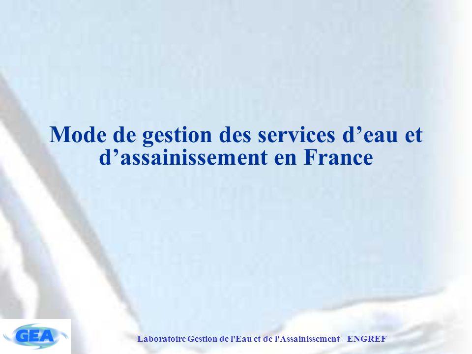 Laboratoire Gestion de l Eau et de l Assainissement - ENGREF Mode de gestion des services d'eau et d'assainissement en France