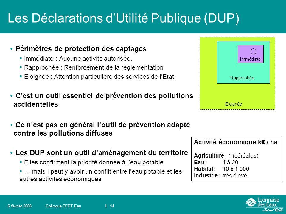 Colloque CFDT EauI 146 février 2008 Les Déclarations d'Utilité Publique (DUP) Périmètres de protection des captages  Immédiate : Aucune activité auto