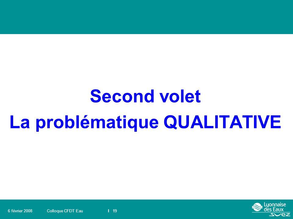 Colloque CFDT EauI 196 février 2008 Second volet La problématique QUALITATIVE