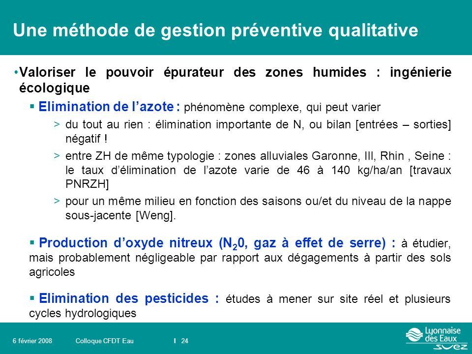 Colloque CFDT EauI 246 février 2008 Une méthode de gestion préventive qualitative Valoriser le pouvoir épurateur des zones humides : ingénierie écolog