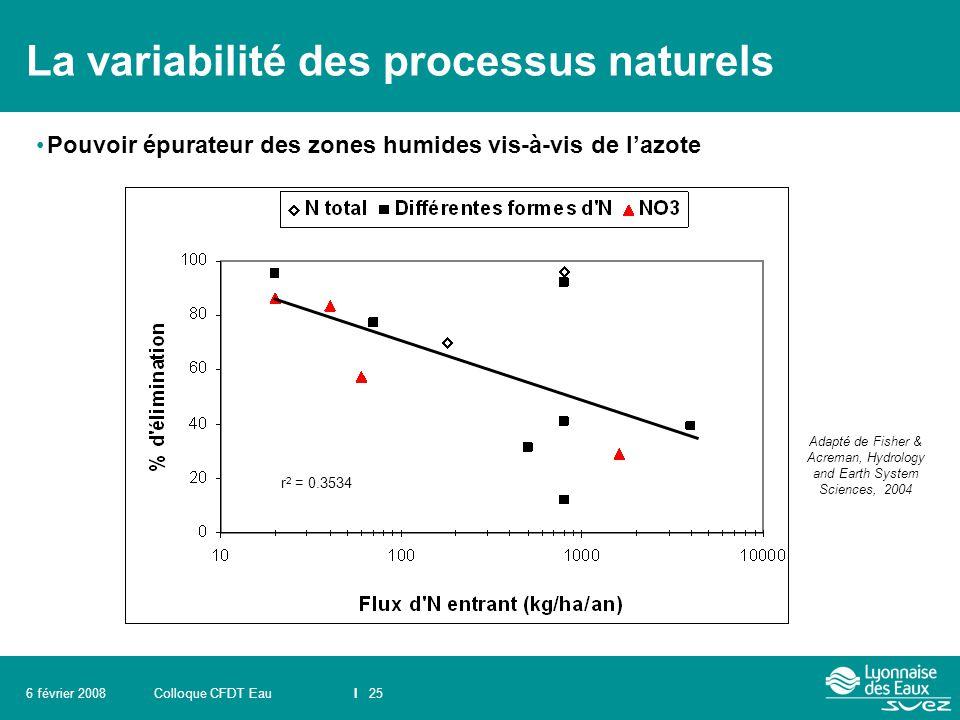 Colloque CFDT EauI 256 février 2008 La variabilité des processus naturels Pouvoir épurateur des zones humides vis-à-vis de l'azote Adapté de Fisher &