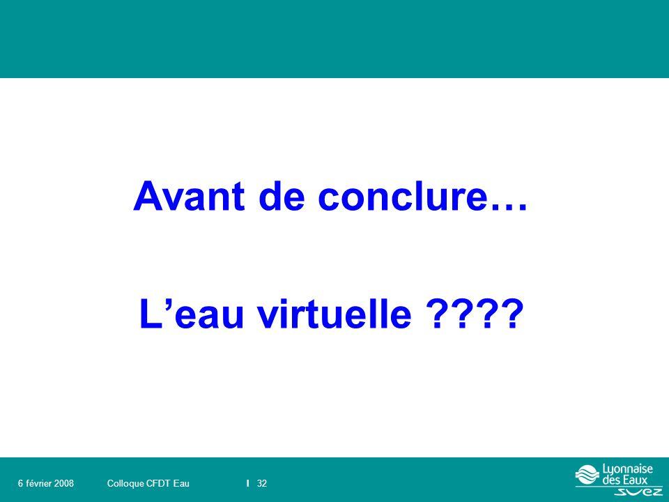 Colloque CFDT EauI 326 février 2008 Avant de conclure… L'eau virtuelle ????