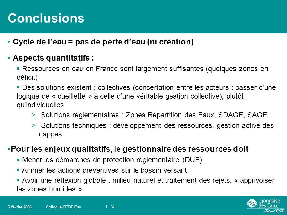 Colloque CFDT EauI 346 février 2008 Conclusions Cycle de l'eau = pas de perte d'eau (ni création) Aspects quantitatifs :  Ressources en eau en France