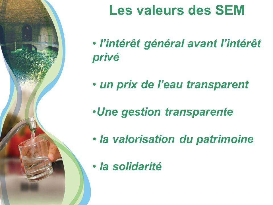 Les valeurs des SEM l'intérêt général avant l'intérêt privé un prix de l'eau transparent Une gestion transparente la valorisation du patrimoine la solidarité