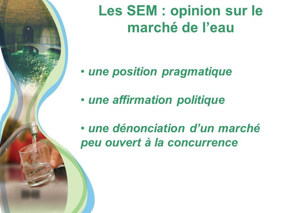 Les SEM : opinion sur le marché de l'eau une position pragmatique une affirmation politique une dénonciation d'un marché peu ouvert à la concurrence