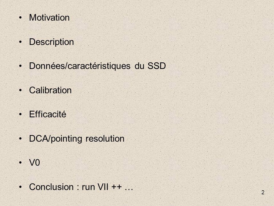 2 Motivation Description Données/caractéristiques du SSD Calibration Efficacité DCA/pointing resolution V0 Conclusion : run VII ++ …