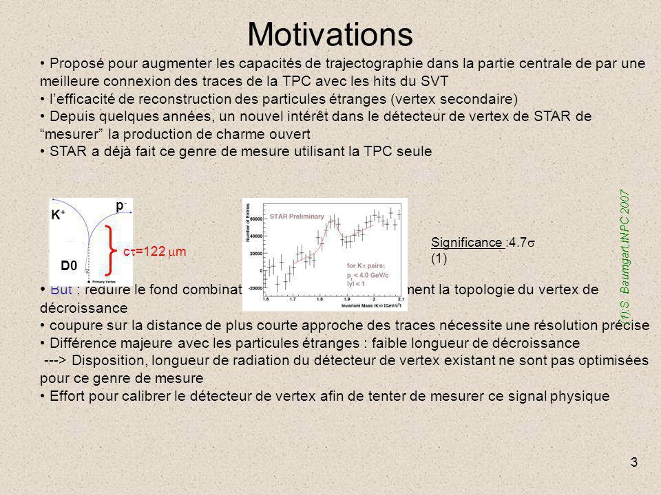 3 Motivations Proposé pour augmenter les capacités de trajectographie dans la partie centrale de par une meilleure connexion des traces de la TPC avec les hits du SVT l'efficacité de reconstruction des particules étranges (vertex secondaire) Depuis quelques années, un nouvel intérêt dans le détecteur de vertex de STAR de mesurer la production de charme ouvert STAR a déjà fait ce genre de mesure utilisant la TPC seule But : réduire le fond combinatoire en identifiant directement la topologie du vertex de décroissance coupure sur la distance de plus courte approche des traces nécessite une résolution précise Différence majeure avec les particules étranges : faible longueur de décroissance ---> Disposition, longueur de radiation du détecteur de vertex existant ne sont pas optimisées pour ce genre de mesure Effort pour calibrer le détecteur de vertex afin de tenter de mesurer ce signal physique c  =122  m Significance :4.7  (1) (1):S.