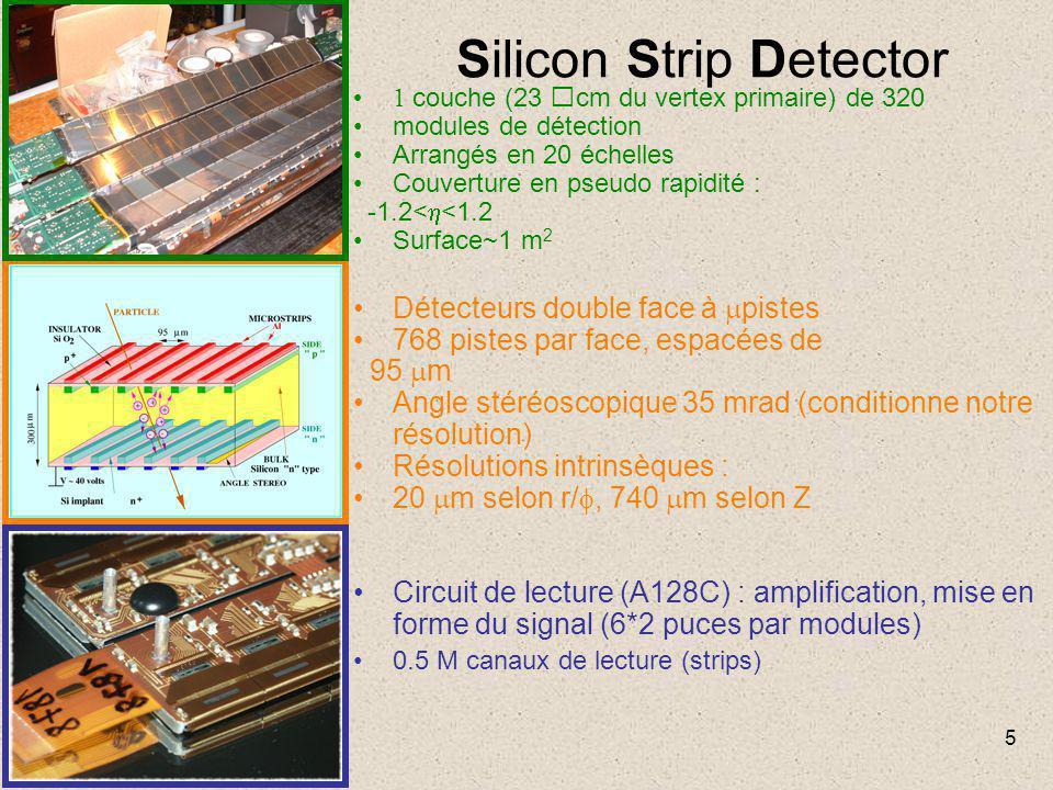 5 Silicon Strip Detector 1 couche (23 cm du vertex primaire) de 320 modules de détection Arrangés en 20 échelles Couverture en pseudo rapidité : -1.2<  <1.2 Surface~1 m 2 Détecteurs double face à  pistes 768 pistes par face, espacées de 95  m Angle stéréoscopique 35 mrad (conditionne notre résolution) Résolutions intrinsèques : 20  m selon r/ , 740  m selon Z Circuit de lecture (A128C) : amplification, mise en forme du signal (6*2 puces par modules) 0.5 M canaux de lecture (strips)
