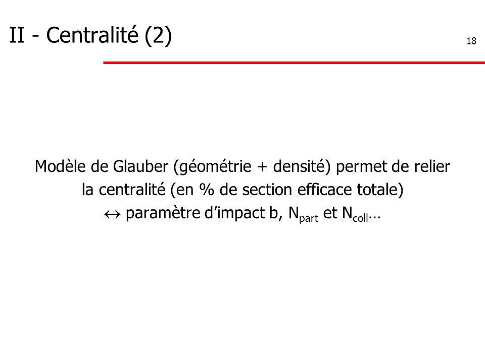 18 II - Centralité (2) Modèle de Glauber (géométrie + densité) permet de relier la centralité (en % de section efficace totale)  paramètre d'impact b, N part et N coll …