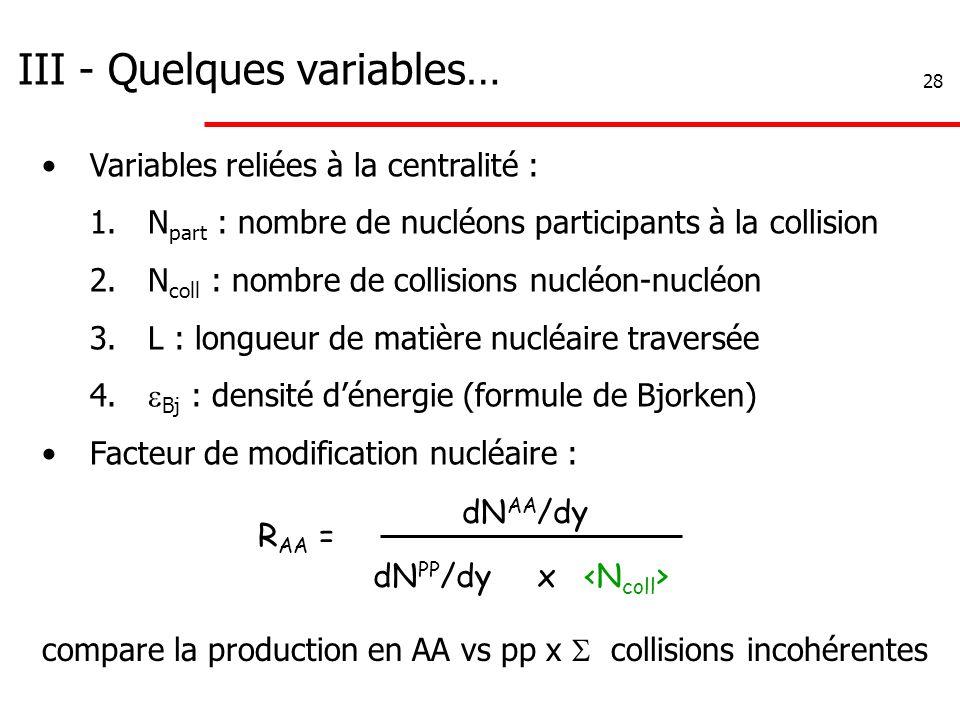 28 III - Quelques variables… R AA = dN AA /dy dN PP /dy x compare la production en AA vs pp x  collisions incohérentes Variables reliées à la central