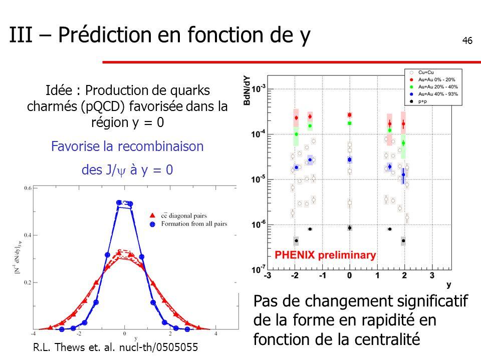 46 III – Prédiction en fonction de y Idée : Production de quarks charmés (pQCD) favorisée dans la région y = 0 Favorise la recombinaison des J/  à y