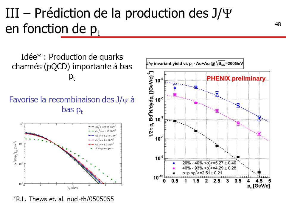 48 III – Prédiction de la production des J/  en fonction de p t Idée* : Production de quarks charmés (pQCD) importante à bas p t Favorise la recombin